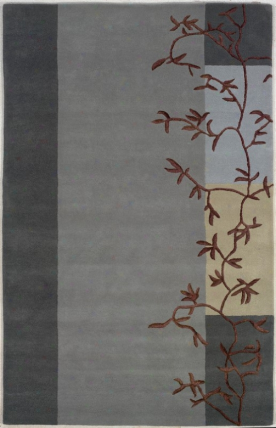 8' X 11' Hand Tufted Area Rug Brown Branches In Grey Blue