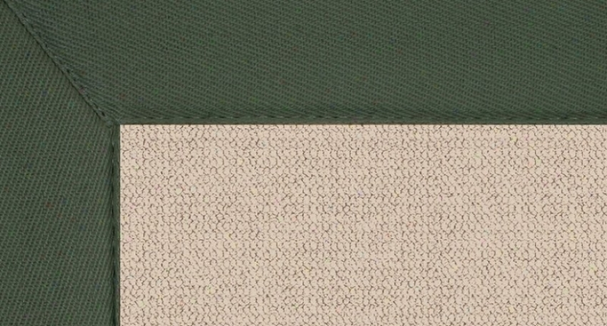 8' X 11' Natural Wool Rug - Athena Hand Tufted Rug With Green Border