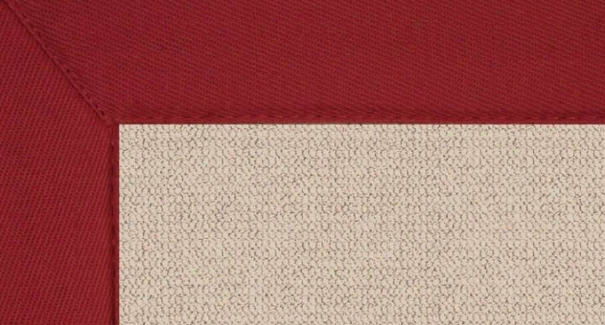 8' X 11' Natural Wool Rug - Athena Hand Tufted Rug With Red Borderr