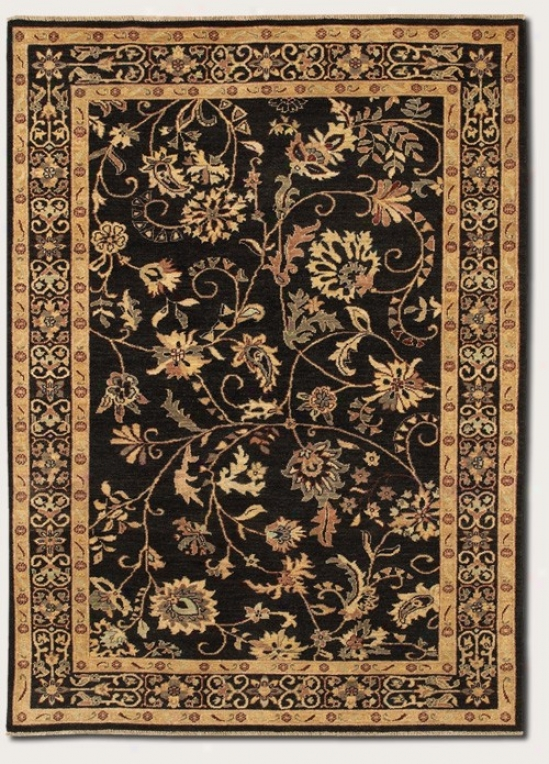 8' X 11'6&quot Area Rug Eco-friendly Floral Pattern In Black