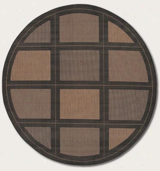 8'6&quot Round Area Rug Contemporary Grid Design In Black