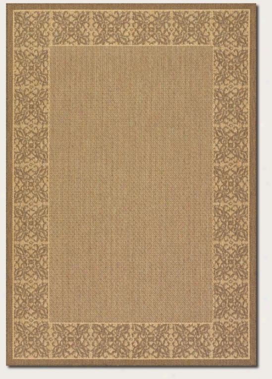 8'6&quot Round Area Rug Floral Pattern Border In Natural And Cocoa