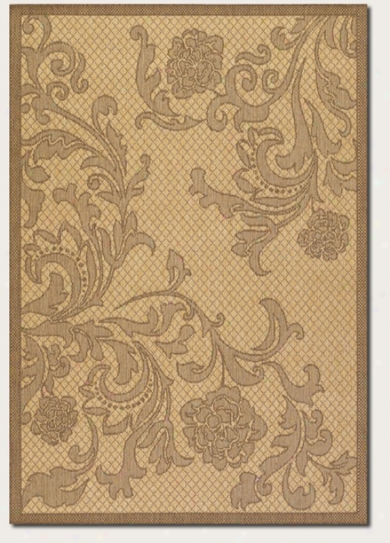 8'6&uot Round Area Rug Tapestry Pattern In Natural And Cocoa