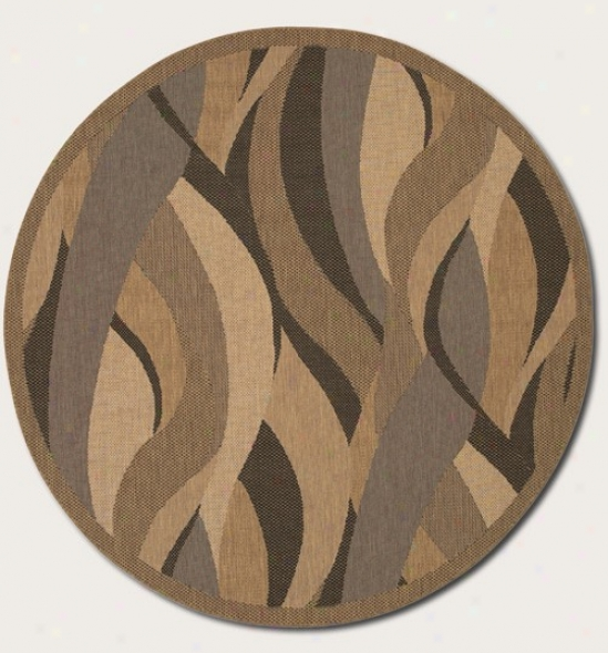 8'6&quot Round Area Rug Brandish Design In Natural And Black