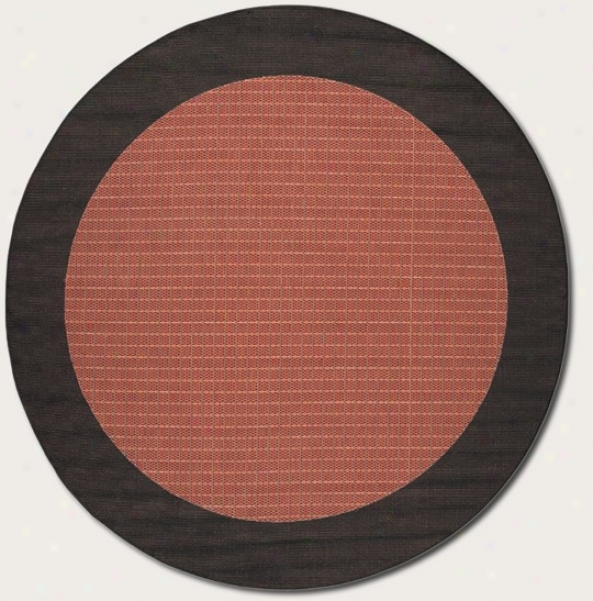 8'6&quot Round Area Rug With Black Border In Terra-otta Color