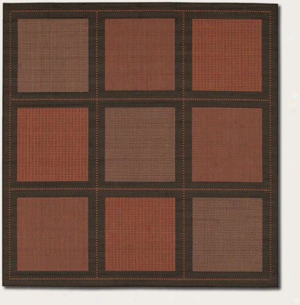 8'6&quot Square Area Rug Contemporary Grid Design In Terra-cotta