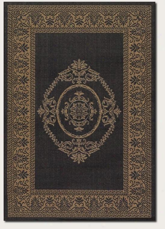 8'6&quot Square Region Rug Medallion Design In Black And Cocoa