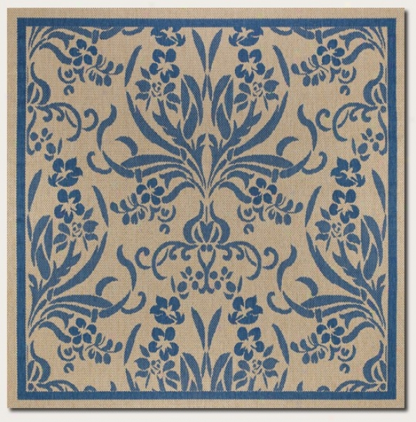 8'6&quot Square Area Rug Tapestry Pattern In Blue And Natural