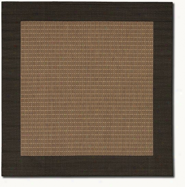 8'6&quot Square Checkered Field Cocoa Black Indoor/outdoor Area Rug