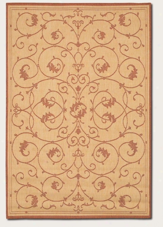 8'6&quot X 13' Area Rug Scroll Floral Desigj In Natural