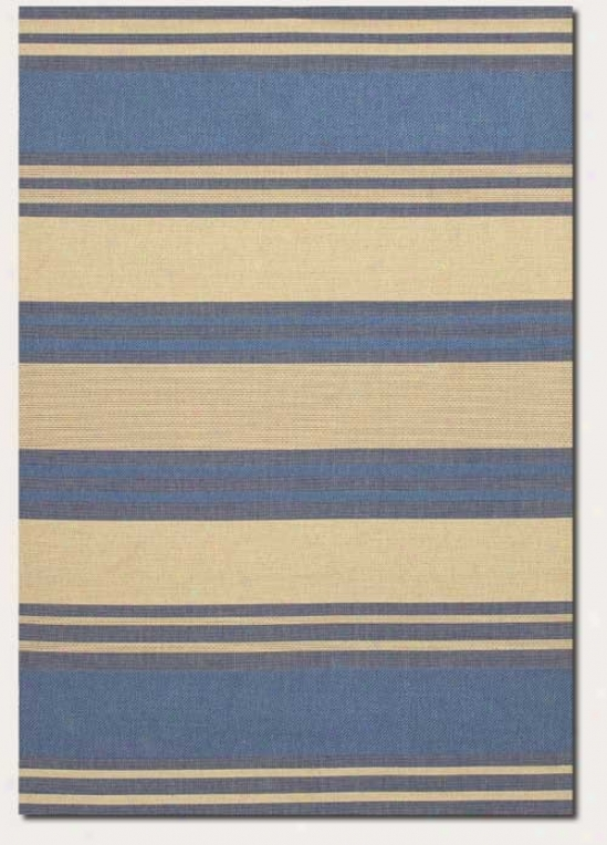 8'6&quot X 13' Superficial contents Rug Thick Stripd Pattern In Blue And Cream
