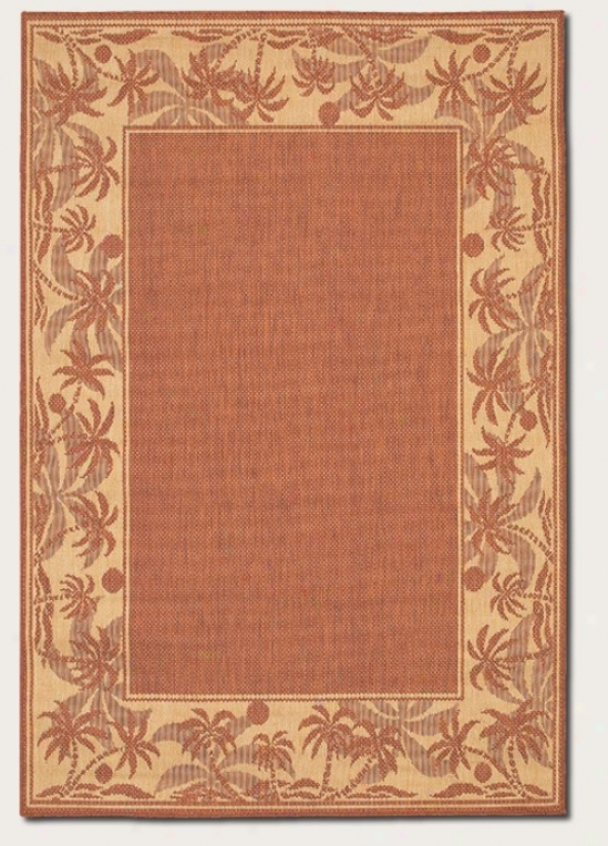 8'6&quot X 13' Area Rug With Palm Tree Design Border In Terra-cotta