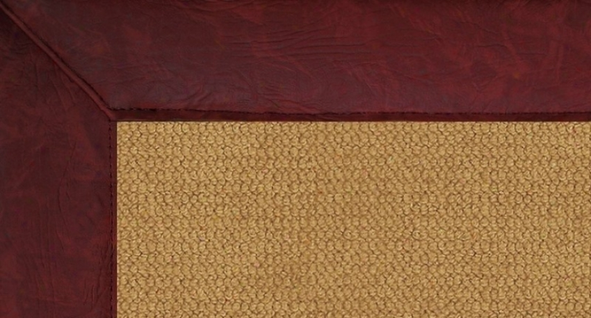 8'9&quot X 12' Cork Wool Rug - Athena Hand Tufted Rug With Burgundy Leather Border