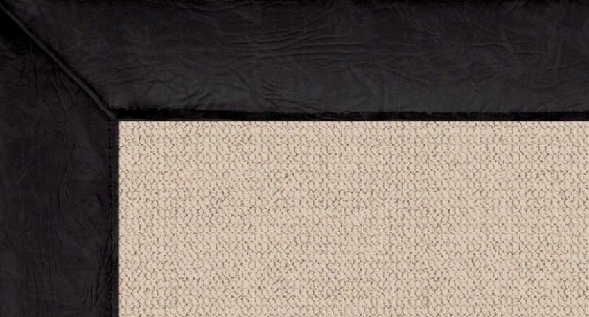8'9&quot X 12' Natural Wool Rug - Athena Hand Tufted Rug With Black Leather Border