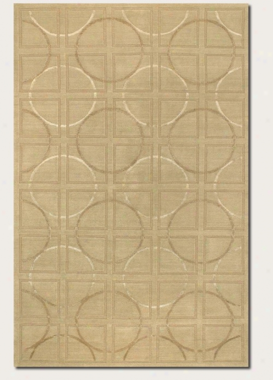 9' X 12' Area Rug Circle And Square Pattern In Beige And Ivory