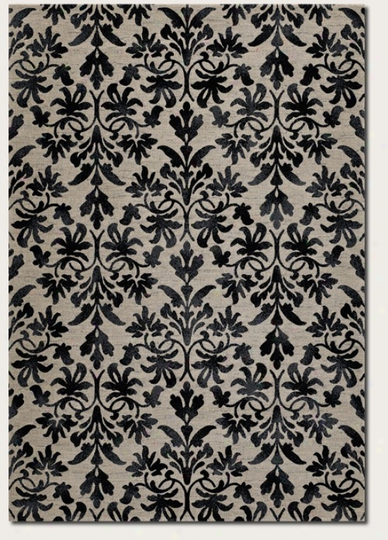 9'2&quot X 12'5&quot Area Rug Damask Pattern In Grey And Black Redness