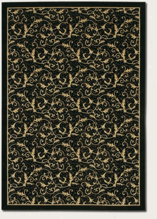 9'2&quot X 12'5&quot Area Rug Gold Scroll Fern Design In Black Color