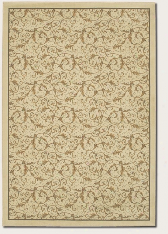 9'2&quot X 12'5&quot Atea Rug Gold Scroll Fern Deesign Im Ivory Pigment