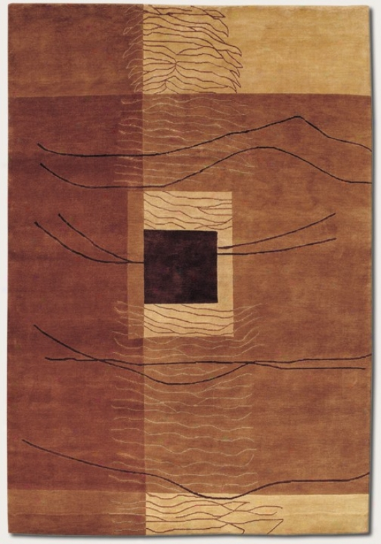 9'6&quot X 13' Area Rug Palm Knotted Contemporary Style In Earthtones