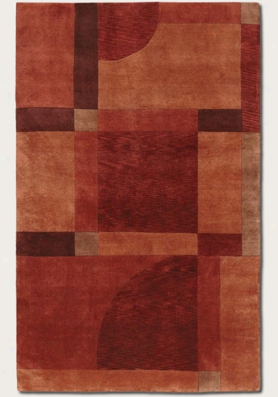 9'6&quot X 13' Area Rug Hand Knotted Contemporary Gnomon  In Red Miso