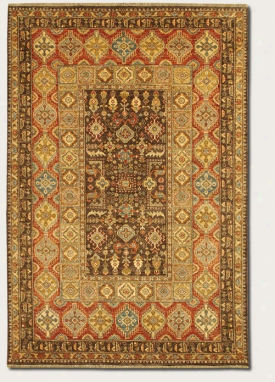 9'6&quot X 13'6&quot Area Rug Classic Persian Pattern In Brown