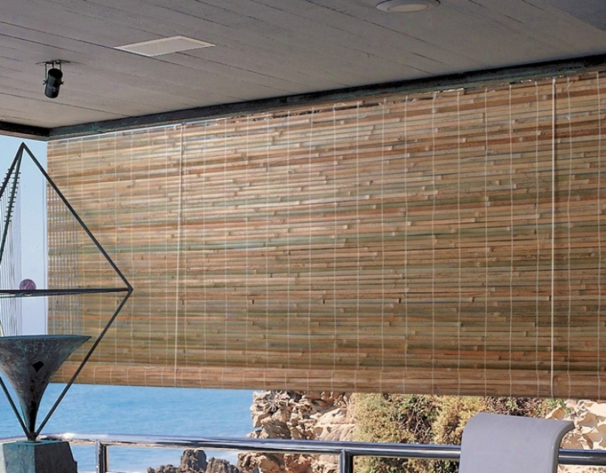 96&quotw Bamboo Window Treatment Roll-up Blind In Natural Finish
