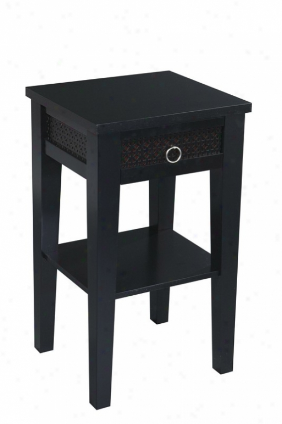 Accent Side Index With Drawer In Mourning Finish