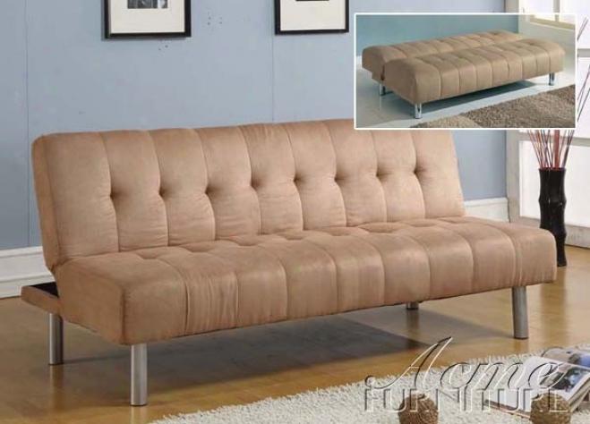 Adjustable Futon Sofa With Tufted Design In Beige Microfiber