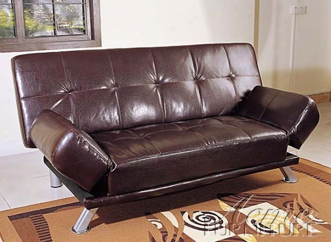 Adjustable Futon Sofa With Tufted Desin In Chocolate Bycast