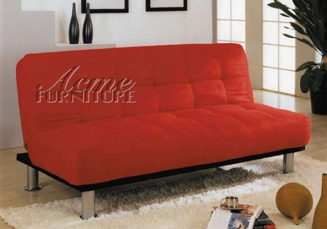 Adjustablle Futon Sofa With Tufted Desivn In Red Microfiber