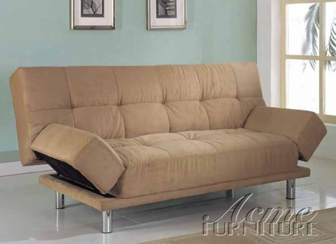 Adjustabl Futon Sofa With Tufted Design In Tan Microfiber