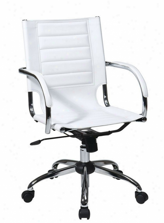 Adjustable Office Chair In White Leatherette