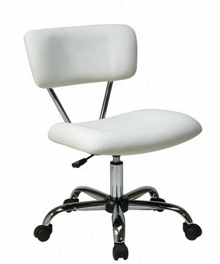 Adjustable Swive lOffice Task Chair In White Leatherette