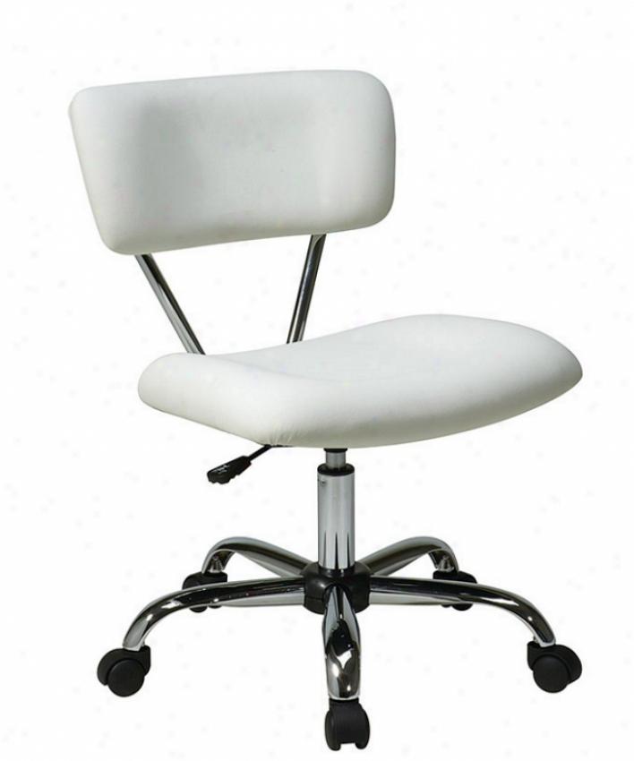 Adjustable Swive lOffice Task Chair In White Leatherette