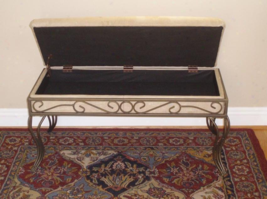 Antique Gold & Beige Polishing Metal Upholstered Bench