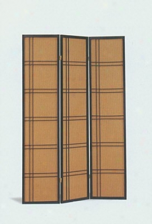 Asian Contemporary Black & Brown Fabric Paper Room Divider Screen