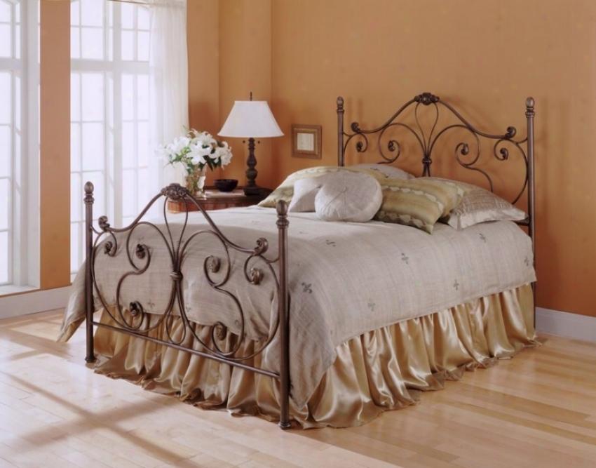 Aynsley Bronze Fihish Metal King Bed W/bed Frame Head & Footboard