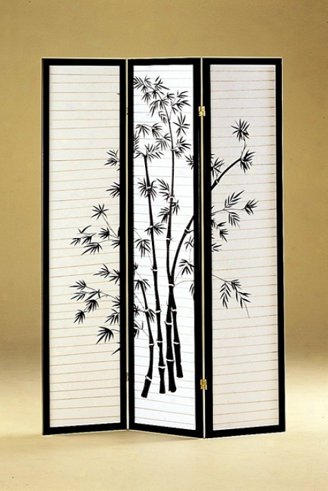 Bamboo Print 3 Panel Black Framed Room Screen/divider