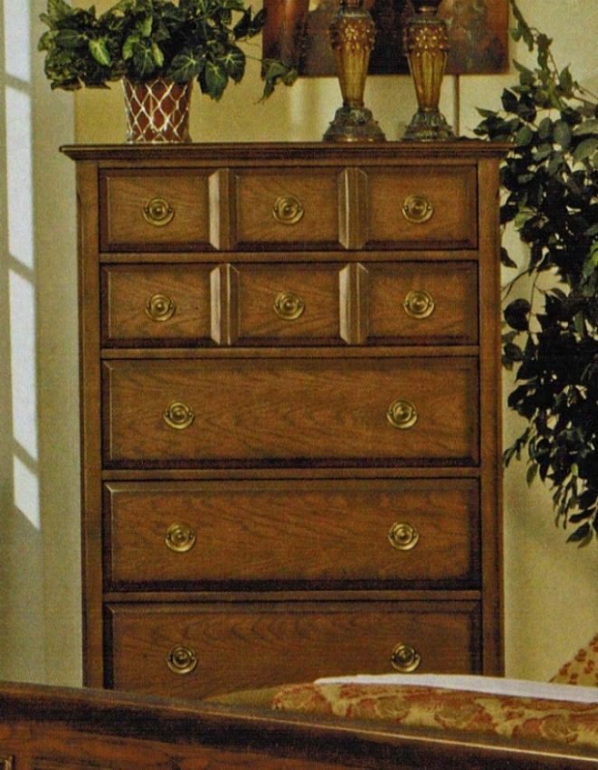 Bedroom Chest With Ring Handles In Mellow Oak Finish