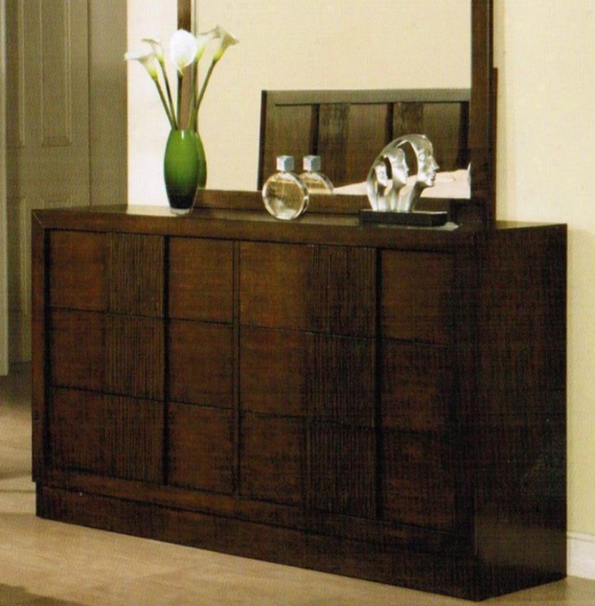 Bedroom Dresser With Vertical Line Carving In Brown Finish