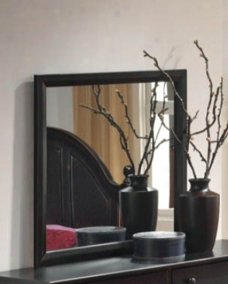 Bedroom Mirror Transitional Style In Black Finish