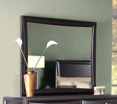 Bedroom Mirror With Concave Side Panel In Mahogany Finish