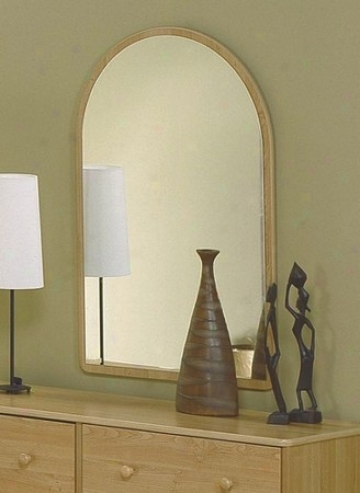 Bedroom Mirror With Oval Top In Oak Finish