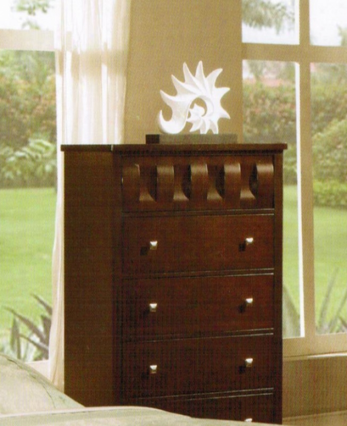 Bedroom Storage Chest In Deep Brown Finish