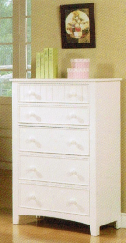 Bedroom Storage Ch3st With Five Drawers In White Finish