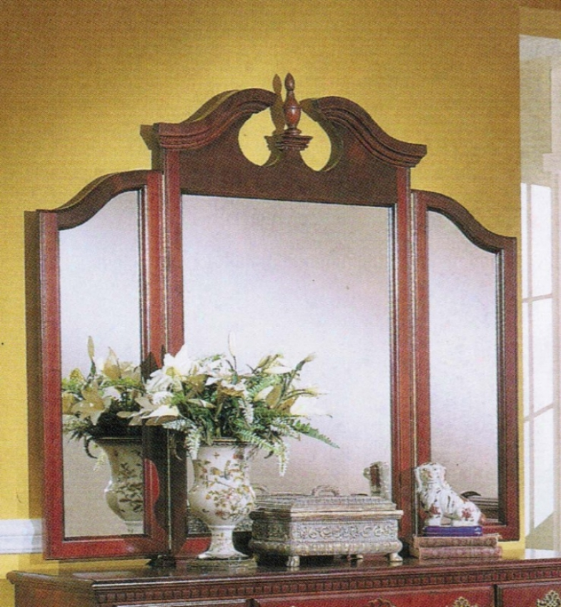 Bedroom Tri-view Mirror Traditional Style Cherry Finish