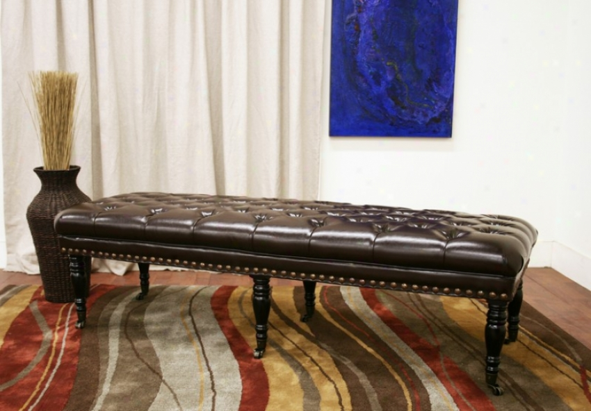 Bench With Button-tufted Seat Nail Head Trim In Dark Brown Leathr