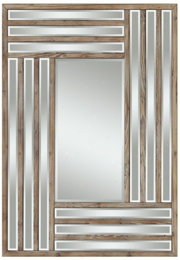 Beveled Wall Mirror In Light Natural Rustic Wood Finish