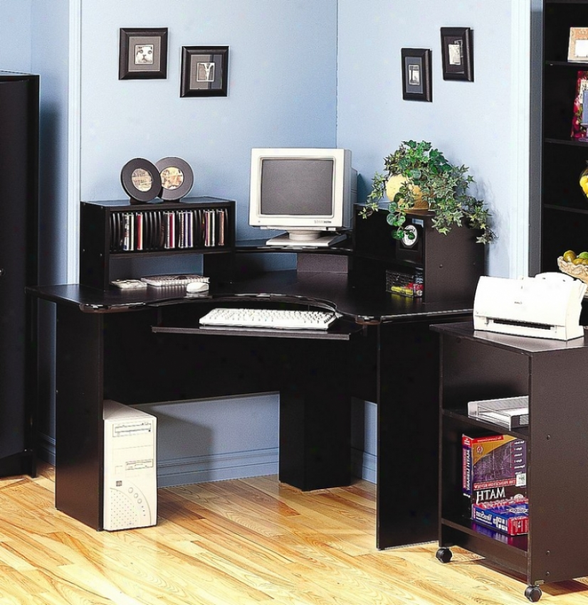 Black Finish Corner Comtper Workstation Office Desk