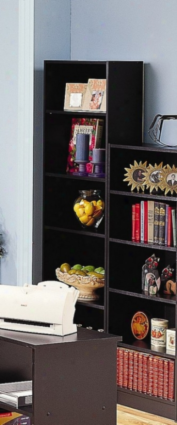 Black Finish Domestic Office Tall Five-shelf Bookcase